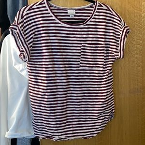 Red and white stripped shirt